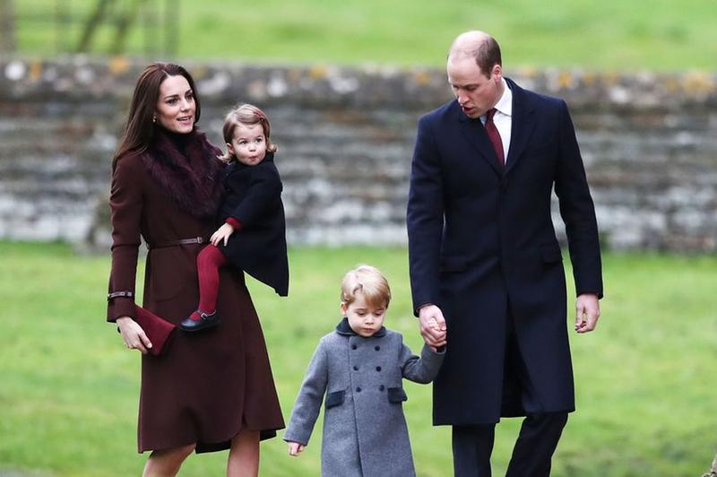 The Royals William, Kate, George and Charlotte at the re-dedication